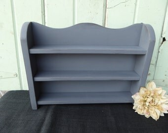 Hand Painted Wood Spice Rack Shelf ~ Display ~ Upcycled ~ Distressed Country Gray  ~ Storage Vintage Urban Farmhouse Home Decor Shabby Chic