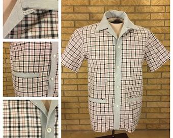 True Vtg 1950's Men's Pink, Black and Gray Check Cabana Shirt Size L Tall