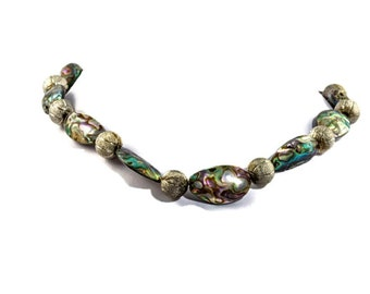 Green abalone design necklace. green abalone modern necklace, green abalone necklace, magnetic clasp, silver beads, shell beads,