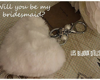 Sale - Bridesmaid Gift Bridesmaid Keychain Fluffy Imitation Fur Heart Keychain Faux Fur White Heart Keychain