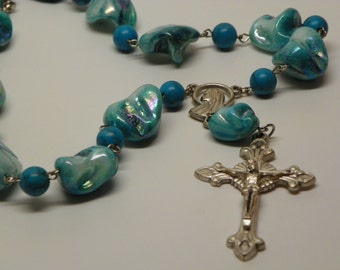 Turquoise color mother of pearl shell beads and turquoise colored beads rosary necklace necklace(N8)