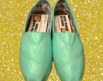 Mint Toms. FREE Personalization [aqua toms] Mint shoes. Mint toms. Can be made into Mint Vans or Mint Converse.