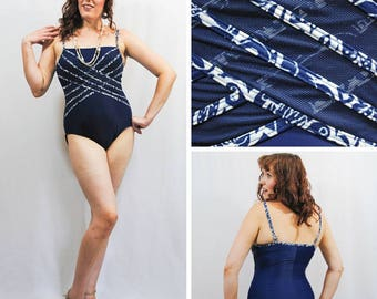 Blue and White Criss-Cross Mesh Swimsuit