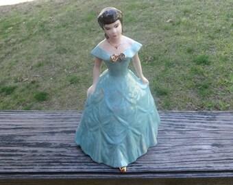 1950s Kleine Co. Porcelain Figurine in Victorian Dress with Gold Trim, 9 5/8 In. Tall, Blue Iridescent Dress, Vintage Ceramics, Figurines
