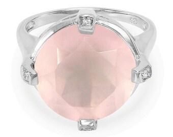 7.93ct Rose Quartz & White Topaz 925 Sterling Silver Ring Size 7