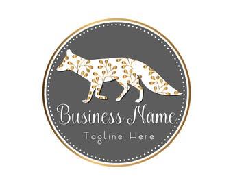 DIGITAL Custom logo design, gold grey fox logo, gold white cute logo, round logo design fox, business logo design, gold round logo