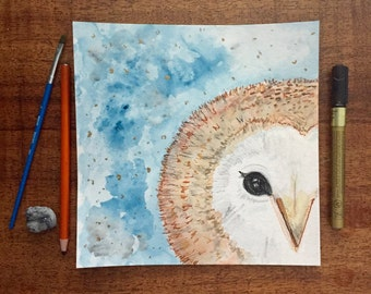 8x8 Winter Woodland Barn Owl-Original Detailed Watercolor