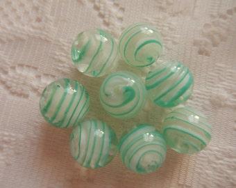 8  Aqua Green & White Swirled Round Lampwork Glass Beads  14mm