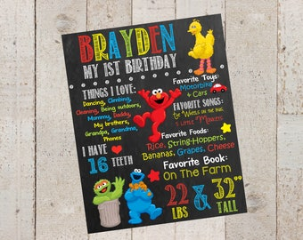 First Birthday Chalkboard--Sesame Street-- ELMO Birthday-- Custom Digital File--Birthday- First Birthday- Sesame Street Birthday