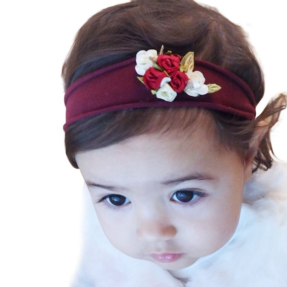 Burgundy Headband, Baby Girl, Girls Headband, Headband for Girls, Flower Headband Baby, Toddler Headband, Flower Girl Headband