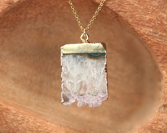 Amethyst necklace - february birthstone - raw crystal necklace - a gold topped raw amethyst slice on a 14k gold filled chain