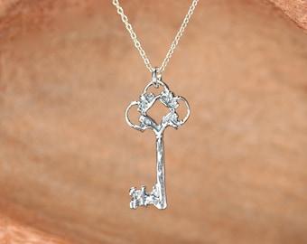 Silver key necklace - skeleton key necklace - key pendant