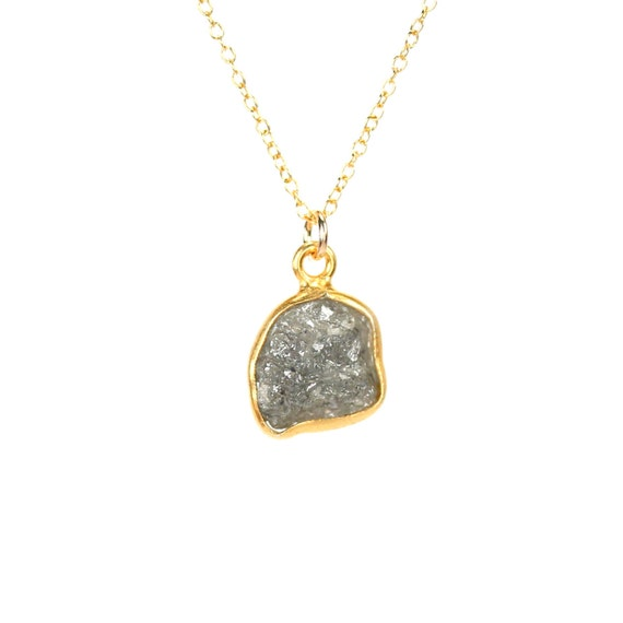 Diamond necklace -  raw diamond necklace - natural diamond - genuine diamond necklace - A bezel set raw diamond on a 14k gold filled