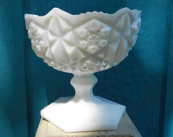 Toltec white Milk Glass round footed bowl by Kemple white 1960s