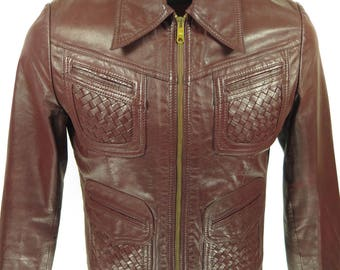 Vintage 70s Maroon Leather Jacket Mens 40 Sears the Leather Shop [G94K_2-2]