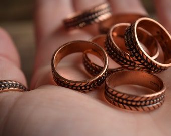 unique copper ring - feather patterned ring - arrow patterned ring - southwestern ring - Copper Band - Pick Your Size