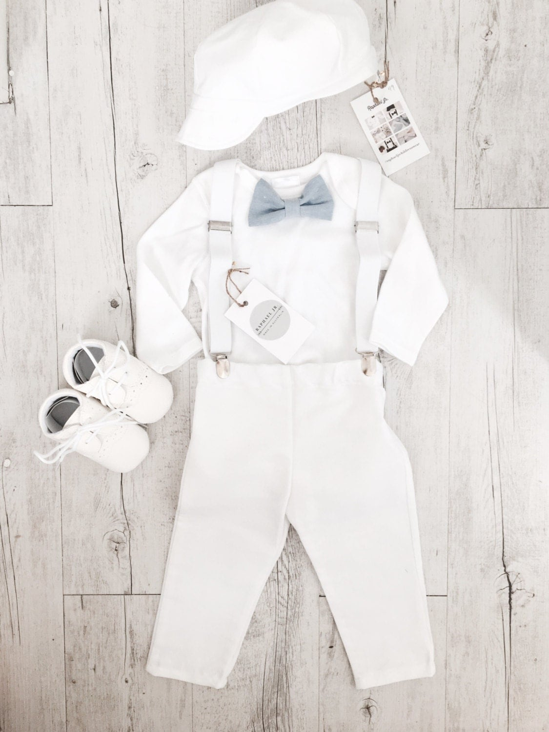 Baby boy Baptism outfit with white onesie suspenders and bow