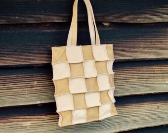 Leather Patchwork Tote Bag, Tote Bag, Suede Leather, Camel & Light Beige Leather