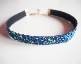 Royal Blue & Rose Gold Glitter Choker, Sparkly Royal Blue Choker, Blue Glitter Choker, Royal Blue Glitter, Glitter Necklace, Boho Jewellery,