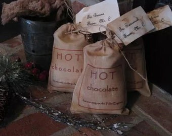 Hot Chocolate for use on Polar Express Personalized Primitive Christmas Decor Tagged Pouch Bag of magic