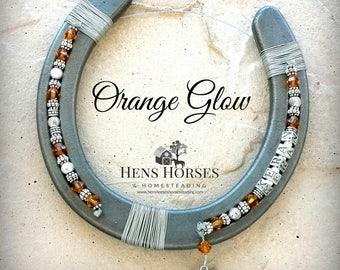 Horseshoe | Horse Décor | Horseshoe Décor | Personalized Horseshoe | Orange Glow Swarovski Crystal Horseshoe | Lucky Horseshoe | One Name
