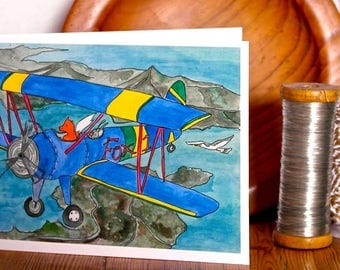 Let's Fly , Hand Illustrated A6 Card, Greetings card, illustrated card, plane card, bi-plane, adventure card, aeroplane card, fox card