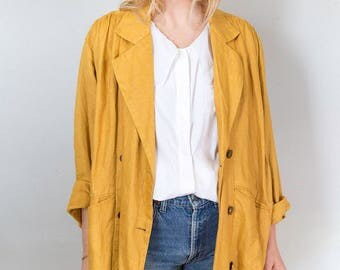 Mustard Linen Oversized Lightweight Jacket