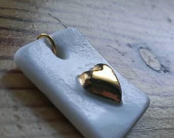 24 Carat Gold Heart Porcelain Pendant - 'Gold & White' Collection