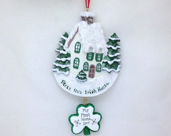 Bless this Irish House Christmas Ornament / Personalized Christmas Ornament / House Christmas Ornament / New Home Ornament