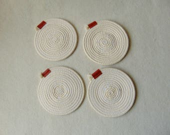 Rope Coasters, Cotton Coasters set of 4, Natural Coasters, Eco Friendly Vegan Gifts