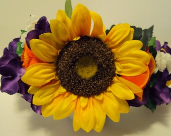 Floral Crown- Sunflower and Purple