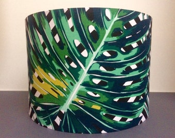 Palm Leaves Lampshade with Monochrome Geometric Background