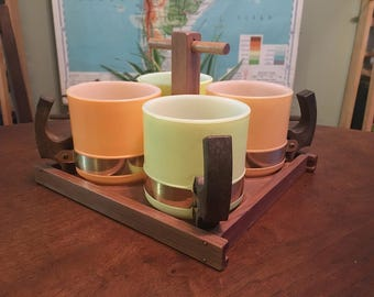 Very Cool Vintage Midcentury Siesta Ware Pastel Mug Set with Serving Tray