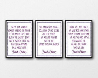 """Set of 3 Barack Obama Quotes - A3/A4/A5  11""""x14"""" / 8""""x10"""" / 5""""x7"""" Print, Typography Artwork"""