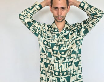 1970s green and cream polyester disco shirt