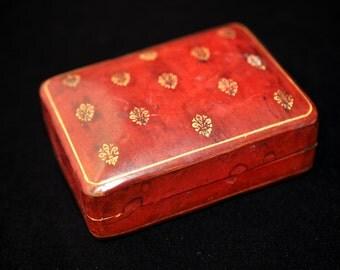 Red Leather jewelry box, Fleur de lis, dresser box, Vintage leather box, Antique, #1991