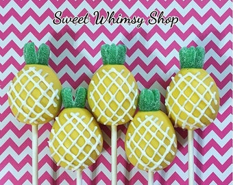 12 Pineapple Cake Pops for Hawaiian Luau, birthday, pool party, summer, welcome home gift, Hawaii, beach, bridal shower, baby shower, fruity