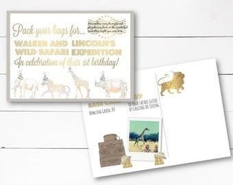 Safari or Jungle Birthday Invitation, Jungle Birthday Invite, Safari Invite, Safari Birthday Postcard, Postcard, DIY or Printed Invitation
