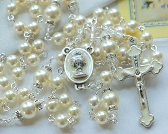 Catholic First Communion Swarovski Cream Pearl Rosary