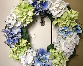Blue, Pale Green, and White Hydrangea Wreath