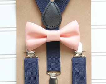 Bowtie and Suspenders Set/Peach Bowtie/Navy Suspenders/Baby and Toddler Bowties/Birthday and Wedding Sets
