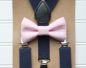 Bowtie and Suspenders Set/Baby Pink Bowtie/Navy Suspenders/Baby and Toddler Bowties/Birthday and Wedding Sets
