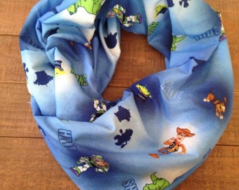 Toy Story Infinity Scarf, Upcycled Sheets, Children's Infinity Scarf, Adult Loop Scarf, Buzz and Woody