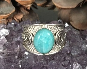 Amazing, genuine amazonite 925 sterling silver ring