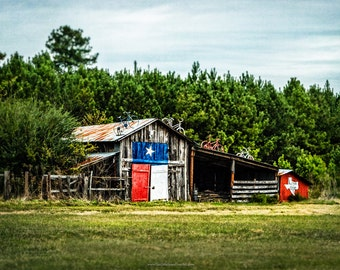 Barn Photograph, Texas Flag Barn, Karnack Barn Fine Art Print or Canvas Wrap, Life is Good in Texas Barn