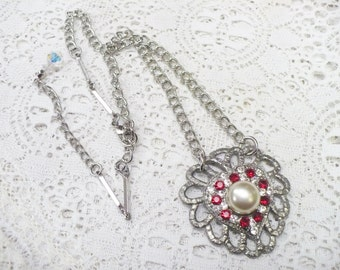OOAK Vintage Red RHINESTONE Ivory PEARL Authentic 1920s Art Deco Pendant Necklace - silver pot metal - adjustable chain - Gatsby Bridal gift