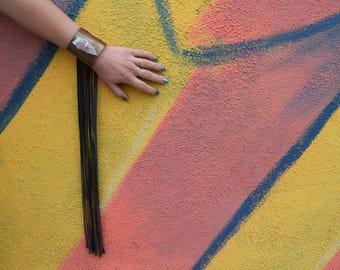 AMETHYST // bronze leather fringe cuff