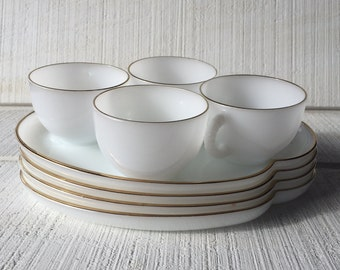 Vintage Federal Glass Gold Halo milk glass Snack Set CLASSIC white / gold snack tray set, luncheon / bakery plates MCM milk glass plates cup