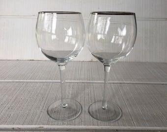 Vintage Silver rim wine glasses, platinum rim wine glasses, wedding toasting glasses red wine glasses Vintage glassware Crystal wine glasses