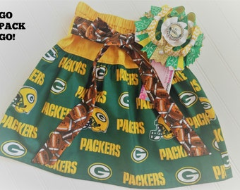 Green Bay Packers girls dress, girls skirt, gift for girl, Packers baby, girls clothes, GB Packers clothing, toddler dress, football